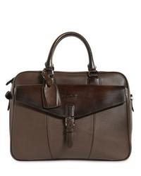 Santoni Large Grained Leather Briefcase