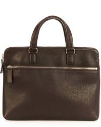Salvatore Ferragamo Single Gusset Leather Briefcase Brown