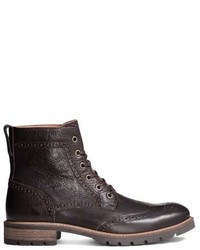 H&M Brogue Patterned Leather Boots