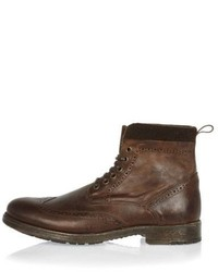 River Island Brown Leather Brogue Worker Boots
