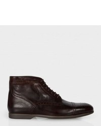 Paul Smith Brown Leather Jesse Brogue Boots With Travel Soles