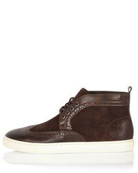 River Island Brown Suede And Leather Brogue Boots