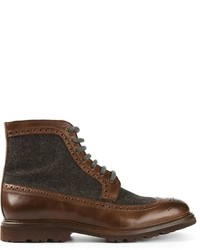 Brunello Cucinelli Contrasting Panel Brogue Boots