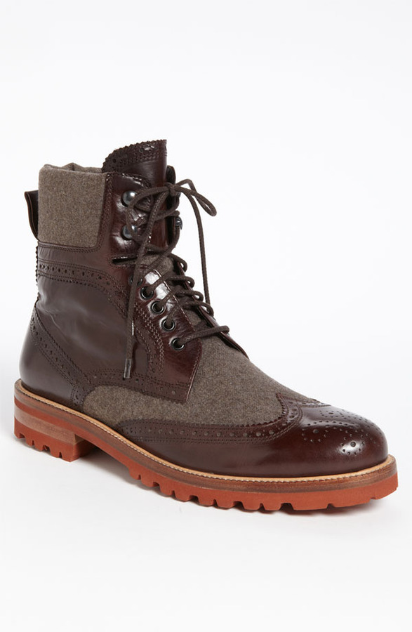 brown leather brogue boots bruno magli paciano