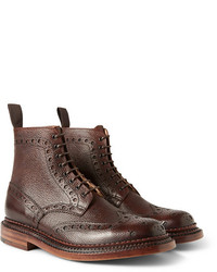 Grenson Fred Triple Welt Pebble Grain Leather Brogue Boots