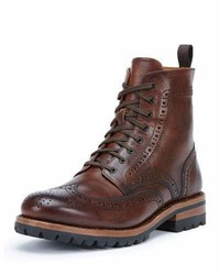George lugged brogue lace up boot cognac medium 760543
