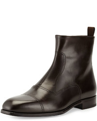 Giorgio Armani Leather Brogue Ankle Boot Dark Brown
