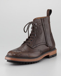 Lanvin Leather Brogue Combat Boot