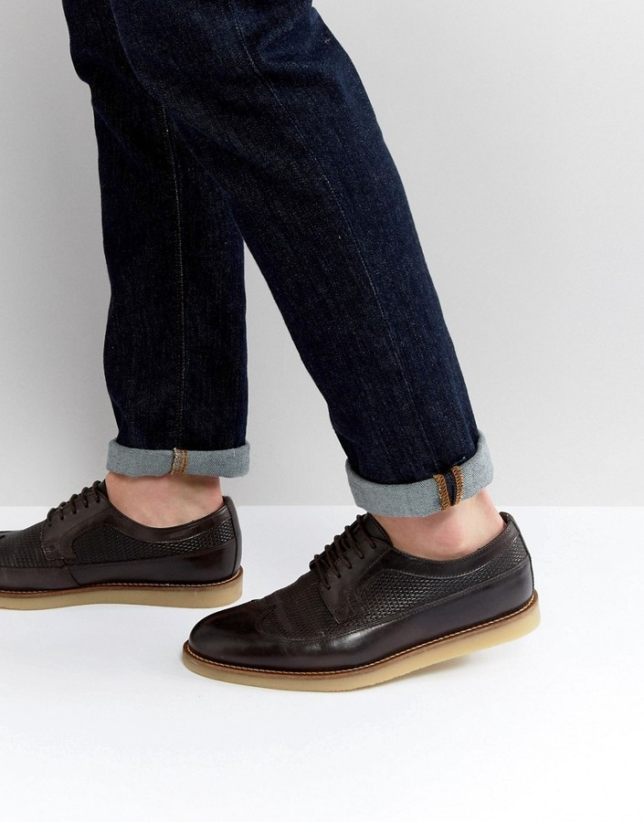 ASOS Brogue Shoes In Leather With Embossing qYe2BoL