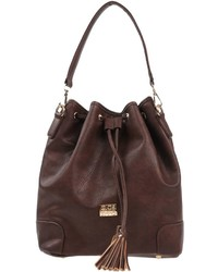 Dark Brown Leather Bucket Bag