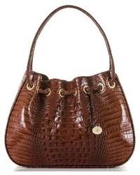 Amy embossed leather drawstring bucket bag brown medium 3684191