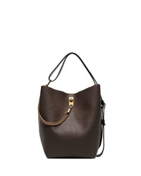 Givenchy Brown Gv3 Ed Leather Bucket Bag