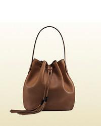 Gucci lady tassel leather bucket bag medium 83732