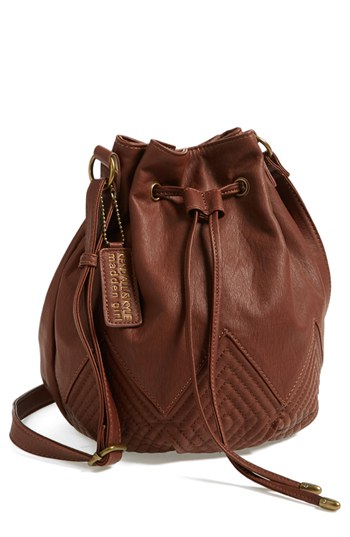 Quilted Faux Leather Bucket Bag Brown One Size