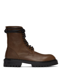 Ann Demeulemeester Brown Lace Up Boots