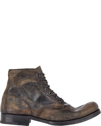 Premiata Distressed Lace Up Boots Brown