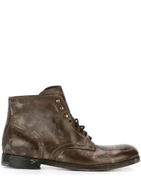 Dolce & Gabbana Distressed Lace Up Boots