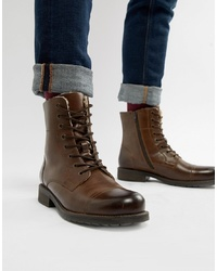 Pier One Fleece Lined Toe Cap Lace Up Boots In Brown