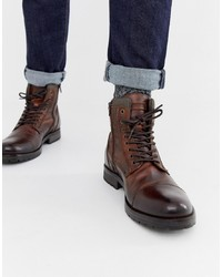 Jack & Jones Leather Lace Up Boots Stone