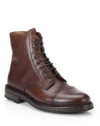 Ralph Lauren Macomb Waxy Leather Lace Up Boots