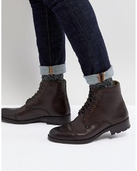 Ben Sherman Military Lace Up Boots In Brown Leather