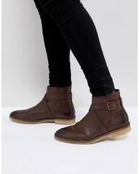 ASOS DESIGN Asos Chelsea Boots In Brown Leather With Strap Detail And Sole