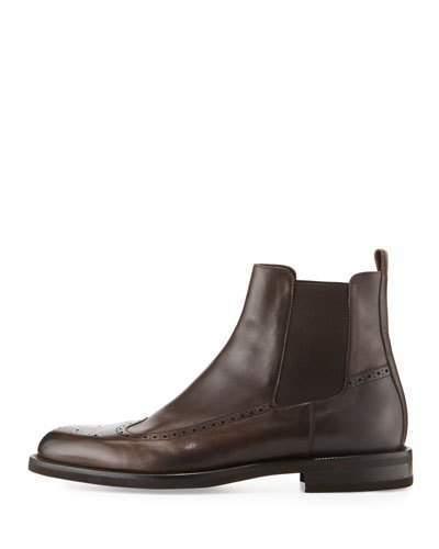 44f678b6607ed ... Ermenegildo Zegna Brogue Leather Chelsea Boot Brown ...