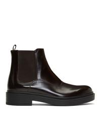 Giorgio Armani Brown Leather Chelsea Boots