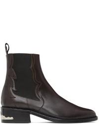 Toga Virilis Brown Leather Embellished Chelsea Boots