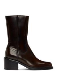 Dries Van Noten Brown Leather Zip Up Boots