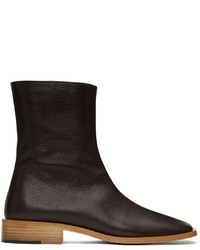 Situationist Brown Leather Zip Up Boots