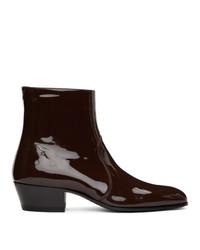 Saint Laurent Brown Patent Cole Boots