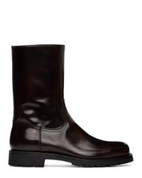 Dries Van Noten Brown Patent Zip Up Boots