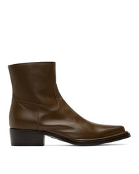 Acne Studios Brown Square Toe Zip Boots
