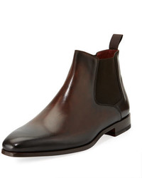 Magnanni For Neiman Marcus Leather Chelsea Boot Dark Brown