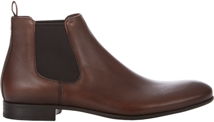 ... Dark Brown Leather Chelsea Boots Prada Saffiano Chelsea Boots