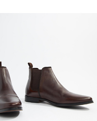 ASOS DESIGN Wide Fit Chelsea Boots In Brown Leather With Brown Sole