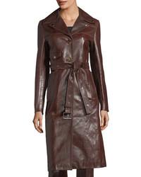 Leather button front belted biker coat medium 4424623
