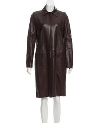 Leather knee length coat medium 5375497