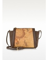 Alviero Martini 1a Classe Lady Geo Print Fabric Dark Brown Suede And Leather Crossbody Bag