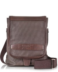 The Bridge By Pininfarina Khaki And Brown Leather Crossbody Bag