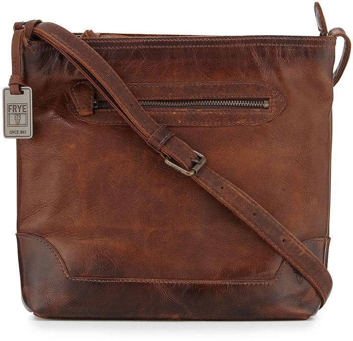 328 Frye Melissa Tumbled Leather Crossbody Bag Dark Brown
