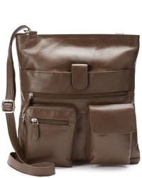 Rr Leather Double Pocket Leather Crossbody Bag