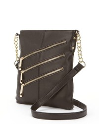 Rr Leather Triple Zip Leather Crossbody Bag