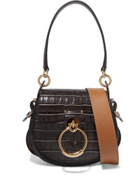 Chloé Tess Small Croc Effect Leather And Suede Shoulder Bag