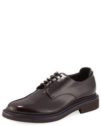 Giorgio Armani Bench Leather Two Tone Derby Shoe Brown
