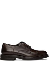 Brunello Cucinelli Brown Leather Cap Toe Derbys
