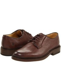 Frye James Oxford Lace Up Casual Shoes Dark Brown Pebbled Full Grain