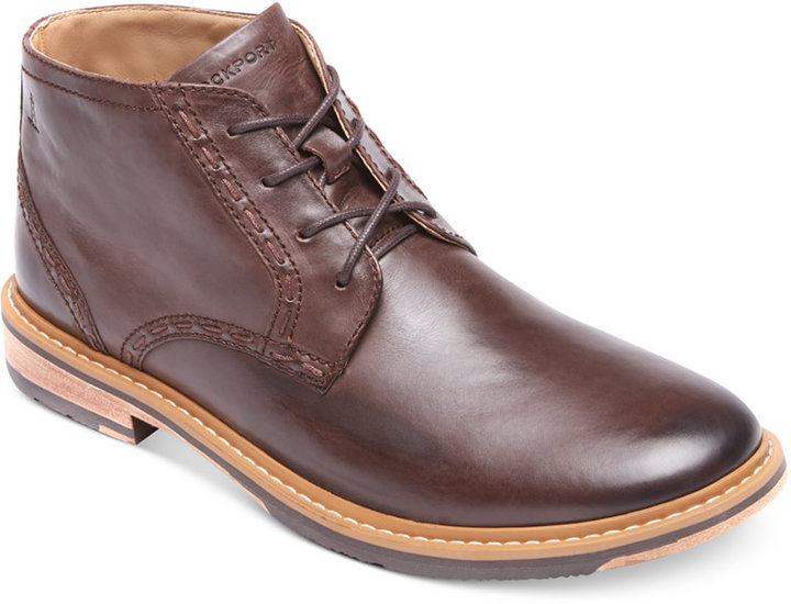 brown leather desert boots rockport hill