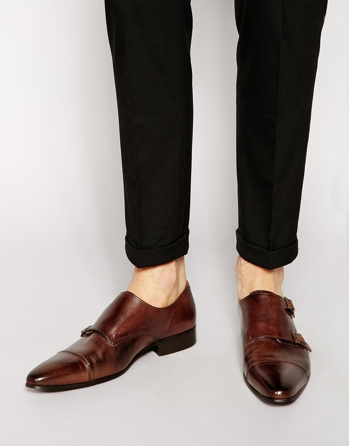 Asos Brand Monk Shoes In Leather, $81